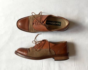 leather and linen brogues