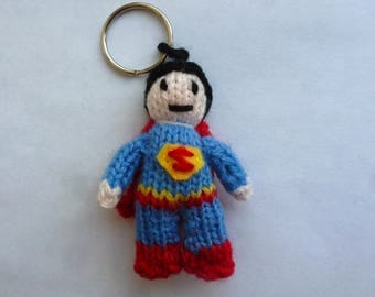 Superman knitted keyring