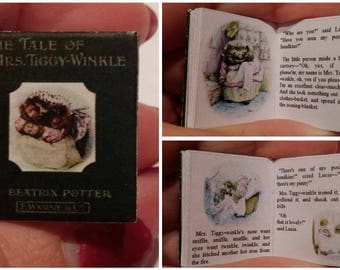 Dolls House 12th Scale  The Tale Of Mrs. Tiggy-Winkle by Beatrix Potter . Downloadable miniature book.