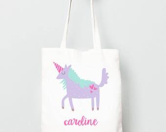 Unicorn Tote Bag, Monogrammed Bag for Kids