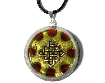 Carnelian Orgone Pendant  - Celtic Knot - Sacral Chakra Energy - Healing Crystal Pendant - Spiritual New Age - Large