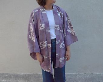 Purple vintage silk haori/kimono robe with patchwork blossom print
