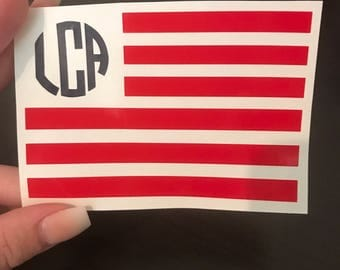 DECAL for Ozark/Yeti/RTIC Tumbler // American Flag Monogram