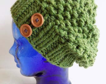 Slouchy Knit Hat - Green Knit Hat with Buttons - Chunky Knit Hat - Grass Green Knitted Hat - Green Slouch Hat - Womens Green Hat