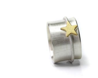 Ring Silver Ring XL width 15 mm, star in gold, ring, Bandring with movable Sternring