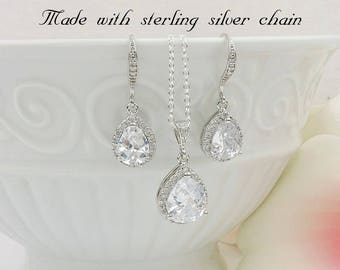 FREE US Ship Cubic Zirconia Teardrop Bridal Necklace And Earring Set Sterling CZ Bridal Jewelry Set Simulated Diamond Bridal Jewelry Set