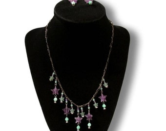 Star Necklace Earrings, Lucy Isaacs Set, Celestial Necklace, Amethyst Necklace, Aventurine Star, Semi Precious Set, Free Domestic Shipping