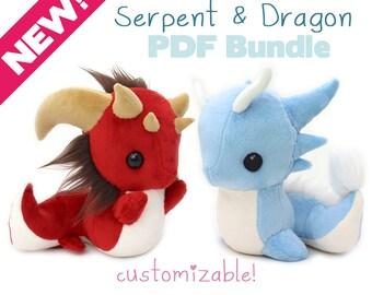 "PDF sewing pattern with videos - Snake and Dragon stuffed animals - kawaii DIY art doll plush plushie soft toy 9"" serpent basilisk leviathan"