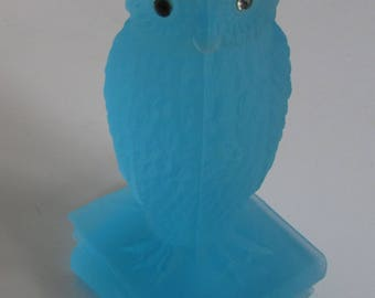 Vintage Blue Glass Owl Figurine with Glass Eyes Paperweight