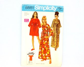 Simplicity 8551 Misses Jiffy Robe Housecoat Length Variations Size 8-10 Empire Drawstring Kimono Sleeves Vintage Lingerie Lounge Wear 1969