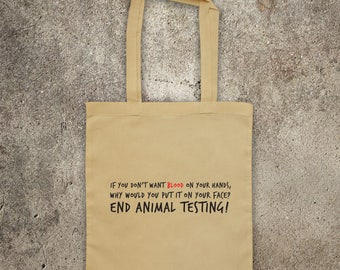 STOP ANIMAL TESTING tote shopper bag, cruelty free, vegan, animal rights protest, Animal Liberation Front, shopping