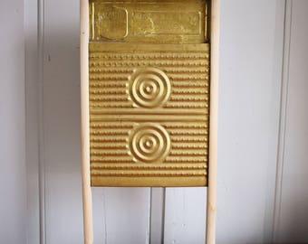 Brass and Wood Washboard, Magic Circle Hand-E-Wash Board, Iverson Mfg. Art Deco Farmhouse Clothes Scrub Board Collectible Laundry Room Decor