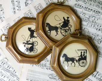Small Pictures, Silhouette Pictures, Carriage, Bubble Glass, Framed Picture Set