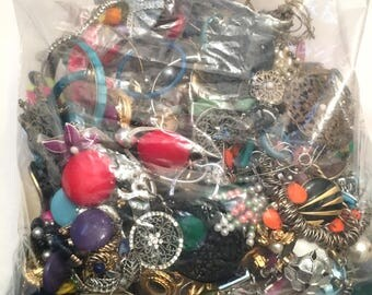 Mixed Earring and Pin Costume Jewelry Lot, Wearable Craft Repurpose Resell Junk 4 lbs, Beaded Plastic Metal Beads Colorful Harvest