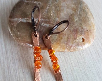 Tangerine Copper Earrings  - Crystal Earrings - Copper Wire Wrap Earrings - Dangle Earrings - Tribal Earrings EA0009