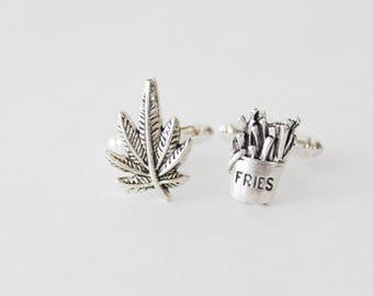 Pot Leaf Cufflinks, Weed Cuff Links, Munchies Cufflinks, Fries Cufflinks, 420 Gifts for Men, Stoner Gifts for Men, Stoner Cufflinks