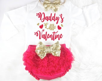 Baby Valentines Outfit Baby Valentines Day Daddys Little Valentine Red Baby  Outfit First Valentines Day 1st