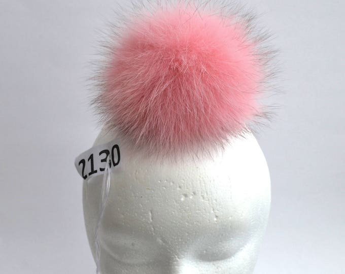 "5,5"" FOX FUR POMPOM! Fur Pom-Pom, Large Fur Pom Pom, Pink Pom Pom, Real Fur, Winter Hat Pom Pom, Womens Pom Pom Hat, Knitted hat, Child"