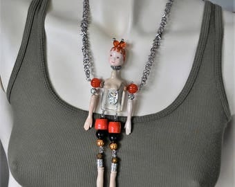 Science fiction necklace, Unique necklace, Original necklace, Strange necklace, Fun necklace, Kitschy necklace, Weird necklace, OOAK