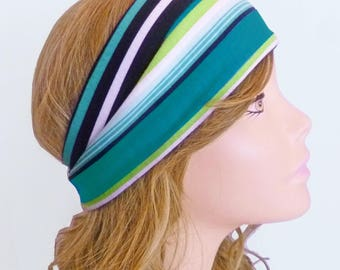 Turquoise Teal Aqua Lime White Black Multi Color Stripe Stretch Knit Headband