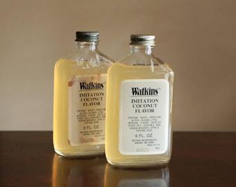 Vintage Watkins Imitation Coconut Flavor bottle / vintage spice bottle