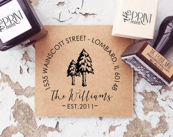 Return Address Stamp, Forest Address, Pine Trees Address Stamp, Custom Address Self-Inking, Mountain Wedding, Return Address Stamp CS-10293