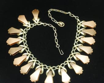Taupe and Brown Thermoset Necklace Vintage