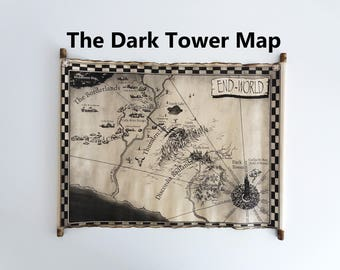 The Dark Tower Map Scroll, End-World Map, Mid-World Map, Handmade Roland's World Map