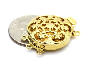 Large Round 3 Strand Floral Filigree Clasp, Vintage Austrian German Made Clasps in Gold 22x30mm 1 set