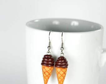 Pair of earrings cones in soft chocolate Sundae, creation in polymer clay, jewelry like ice cream cones, polymer clay jewelry