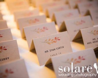 Fall Wedding Place Cards - Folded Wedding Name Cards - Fall Leaves, Fall Colors, Autumn, Fall Foliage,  Fall Colored Name Cards