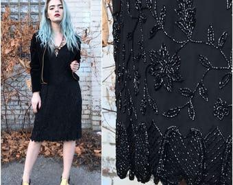 1990s Black Silk Beaded Cocktail Dress // Sleeveless Sequined Holiday Dress sz M / 8