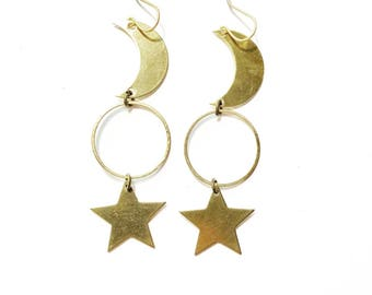 Rhiannon Moon and Star Earrings