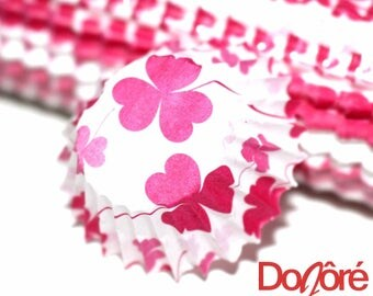 50 x White w/ Pink Flowers Pattern Cupcake Wrappers. Celebrations, Party, Easter, Halloween & Christmas Decoration Paper.  Cake Liner Cases