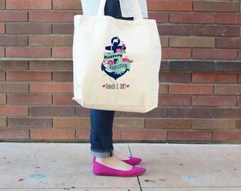 Nautical Anchor Bridesmaid Tote Bag //  Bridesmaid Anchor Personalized Tote Bag Custom Wedding Party Tote Bag