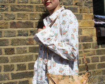 Dublin Medium Clip Bag Tan Floral Leather