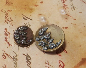 Pair of Victorian Era Floral Buttons