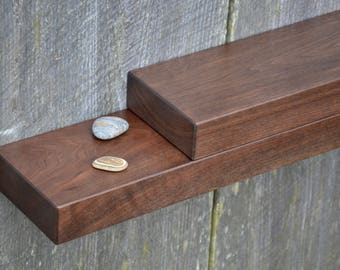 Matching Pair of Walnut Floating Shelves 24 x 5