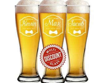 Groomsmen Pilsner, Custom Pilsner Glasses, GIfts for Groomsmen, Etched Glasses, Groomsmen Beer Glass, Groomsmen Beer Mug, Beer Glasses