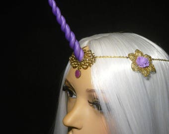 Amethyst Roses Unicorn - Tiara with handsculpted pearlescent horn