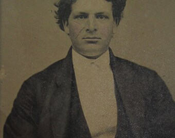 Original 1880's Young Stylish Professional Man Tintype Photograph - Free Shipping