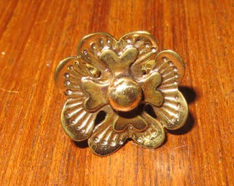 Vintage Mid Century Seppo Timminen Finland Floral Brass Ring - Free Shipping