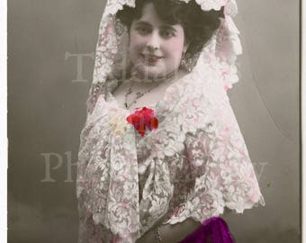 Aretina Edwardian Actress RPPC Postcard - Tarjeta Postal Espana Spain MP Madrid - Unused - Antique Postcard