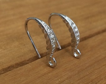 Silver Decorative Fancy Dangle French Hook Ear Wires 18x14mm Unique Jewelry Findings DIY Beading Supply Earring Components