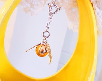 Snitch Locket Harry Potter game of Quidditch gold ball silver wings necklace