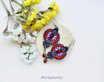 Micro-macrame earrings, beaded, bohemian, elegant, long, dangle, macrame jewelry, beadwork, beadwoven, red purple, unique, gift idea for her
