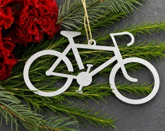 love bicycle bike christmas ornament rustic aluminum holiday gift for her him fall decor wedding favor - Bicycle Christmas Ornament