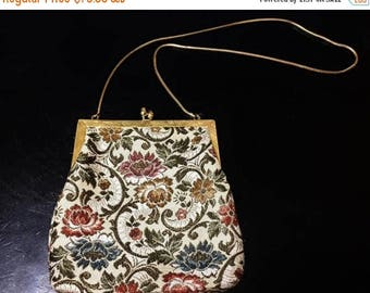 ON SALE - Vintage Handmade Evening Purse with Embroidered Floral Design and Gold Tone Snake Mesh Chain
