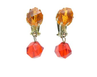 Vintage Orange Red Earrings, Lucite Beads, Clip Ons, Hong Kong