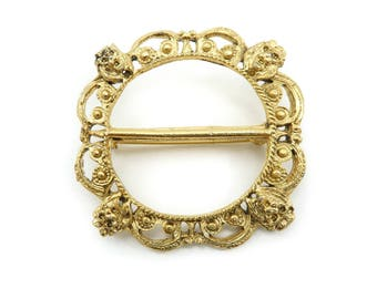 Vintage Lions Head Brooch, Buckle Style, Gold Tone